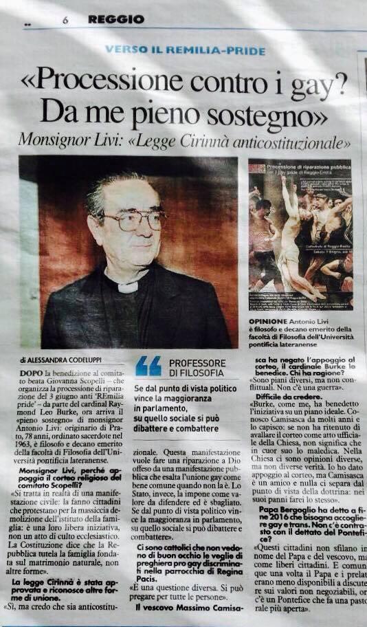 Mons. Livi, intervista a tutto campo su Il Resto del Carlino: 'Pieno sostegno al Comitato'