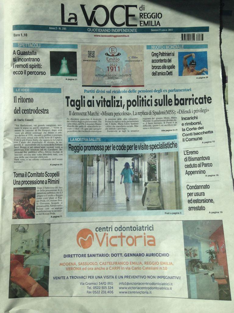 La Voce, quotidiano reggiano - 27 luglio