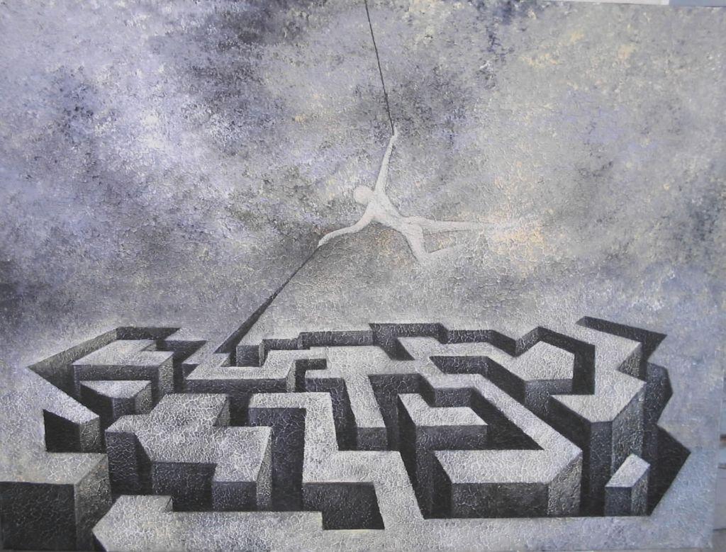 LA - Labirinti-Labirinto-cm80x60-acryl sur toile-Villeneuve 2002