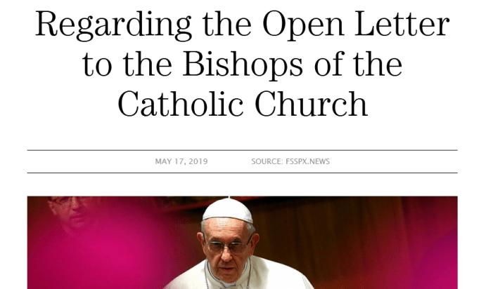"""La FSSPX: la """"lettera ai vescovi"""" contro Bergoglio è una perdita di tempo che dimentica il CVII"""