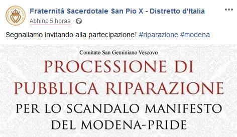 La Fraternità San Pio X invita ufficialmente a partecipare alla processione di riparazione