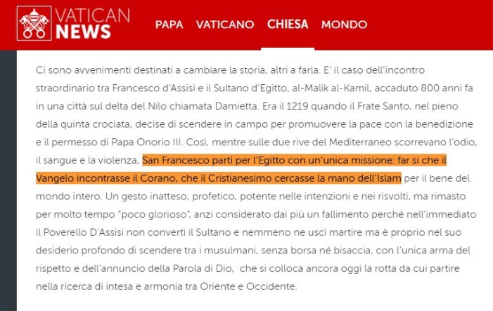 Il (falso) san Francesco filoislamico dei modernisti vaticani.