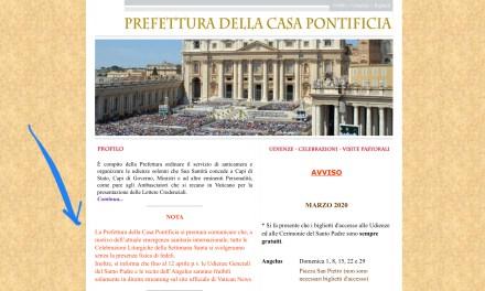 """Prefettura Casa Pontificia: """"Tutte le celebrazioni della Settimana Santa in S. Pietro saranno senza fedeli"""""""