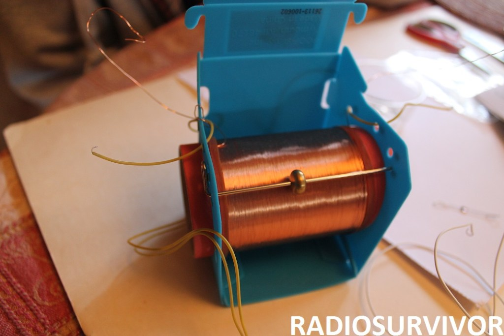 Building the crystal radio - tuning bar in place
