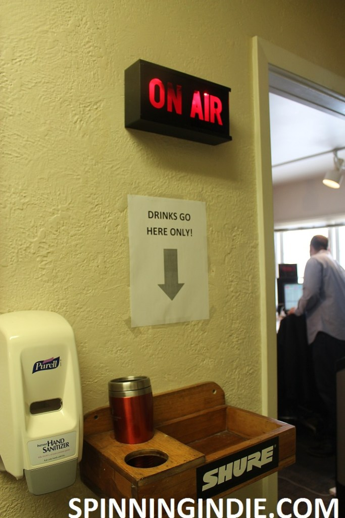 drink and hand sanitizer station at WONC