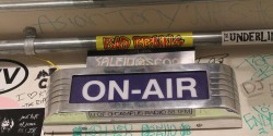 on-air sign at college radio station KWVA