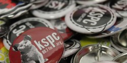 buttons at college radio station KSPC. Photo: J. Waits
