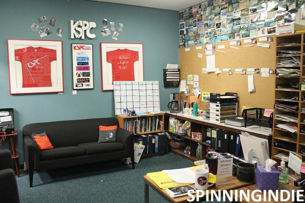 KSPC Lobby with couch, Leo Blais sign. Photo: J. Waits