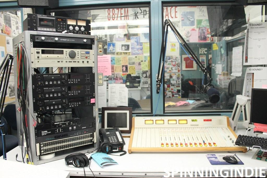 Production studio at KSPC. Photo: J. Waits