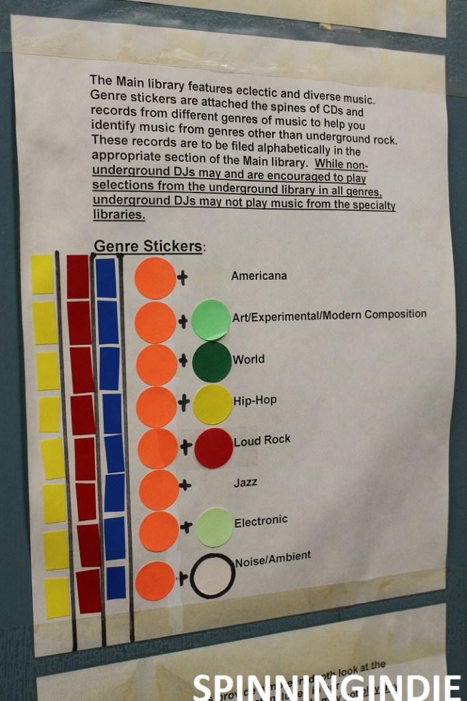 Music genre sticker guidelines at KSPC. Photo: J. Waits