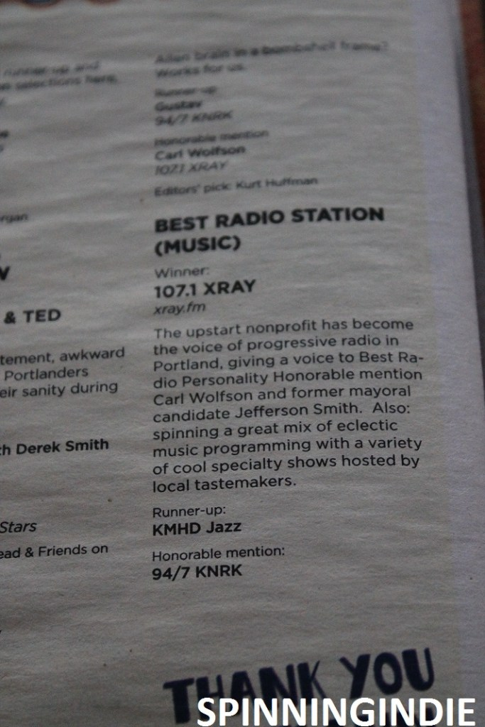 "Accolade for XRAY.fm in ""Best of Portland"" issue of Willamette Week. Photo: J. Waits"