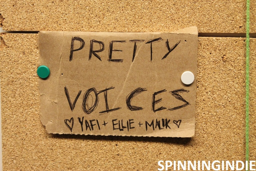 """WMCN show """"Pretty Voices"""" on the schedule on the wall. Photo: J. Waits"""