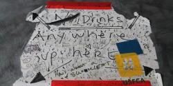 No drinks sign at college radio station KUSF.org. Photo: J. Waits