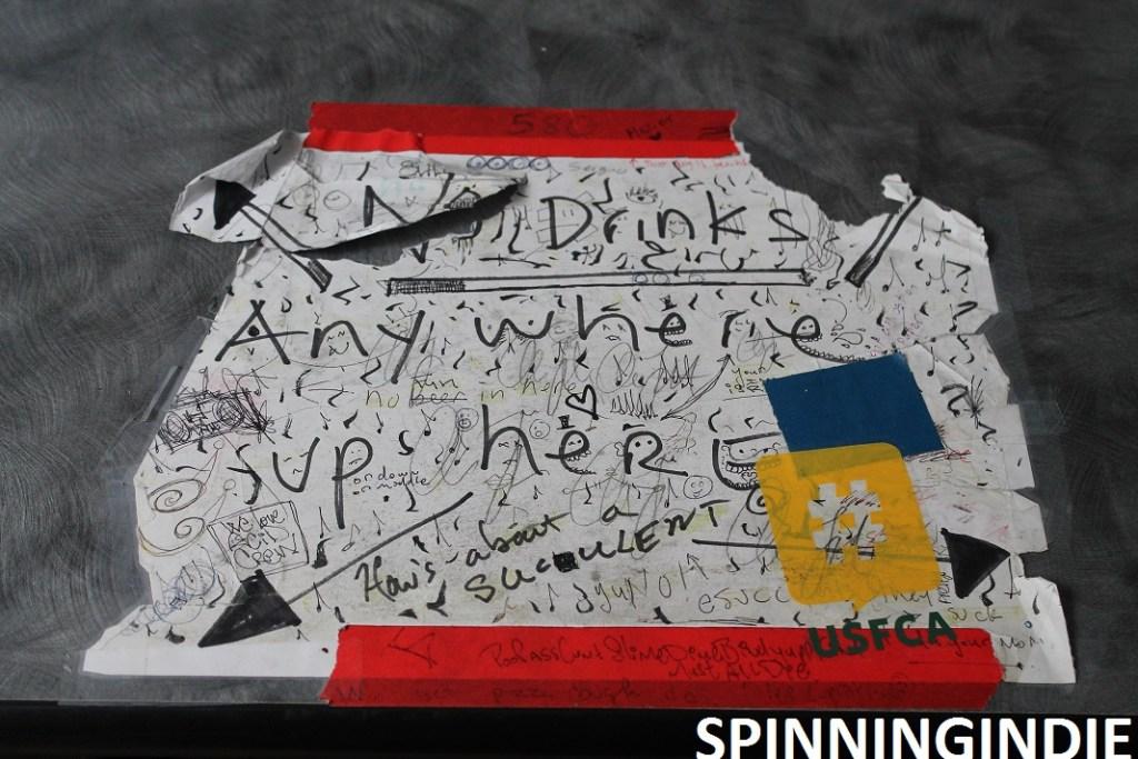 No drinks sign at KUSF.org. Photo: J. Waits