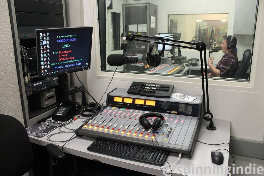 View into WBCR on-air studio from production studio. Photo: J. Waits