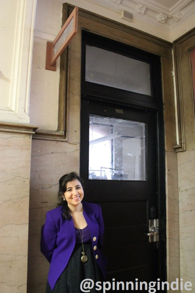 Sarah Settineri in front of the former home of WHCS. Photo: J. Waits