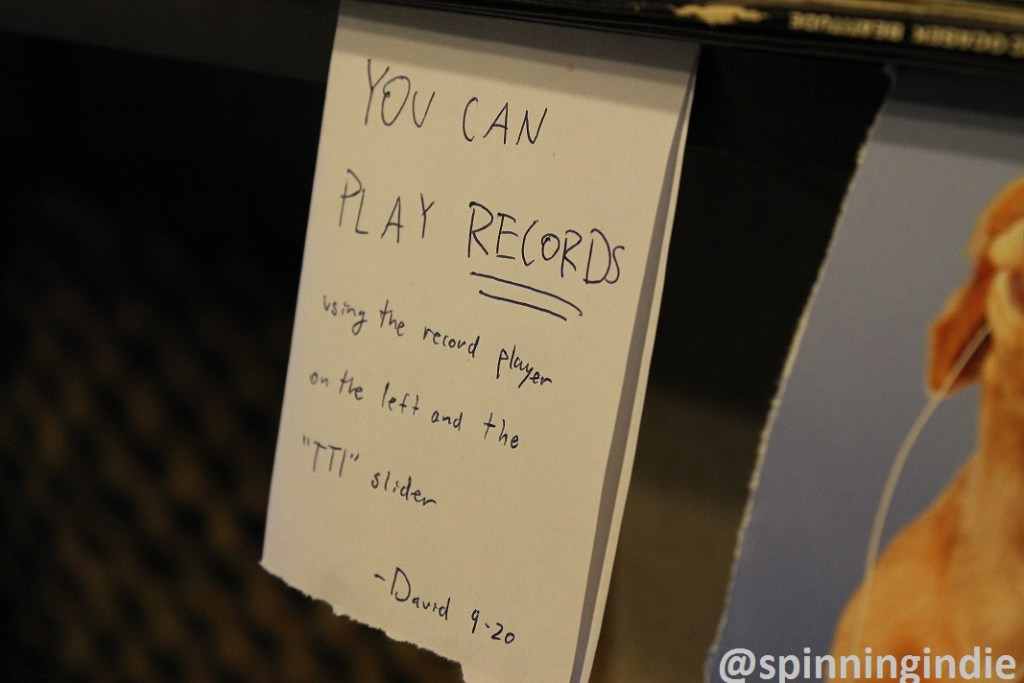 """""""You can play records"""" sign at college radio station The SOCC. Photo: J. Waits"""
