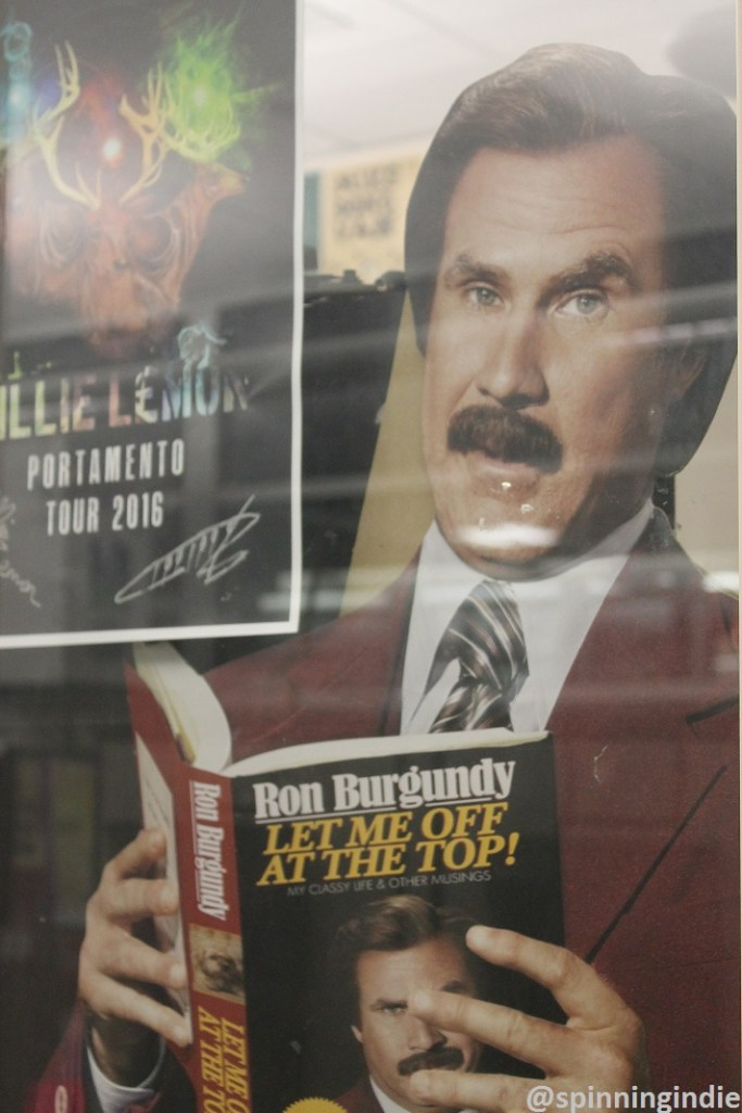 Ron Burgundy cut-out in window of KXUA office. Photo: J. Waits