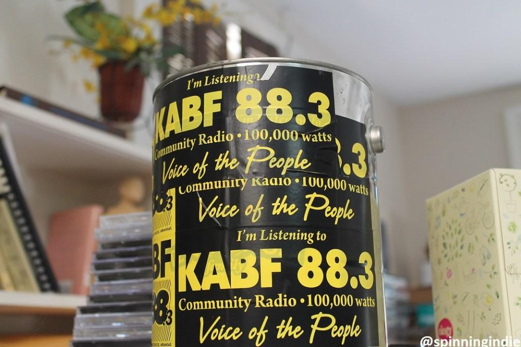 Sticker-covered bucket at KABF. Photo: J. Waits