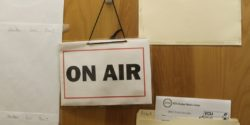 On air sign on door to on-air studio at college radio station WVCW. Photo: J. Waits