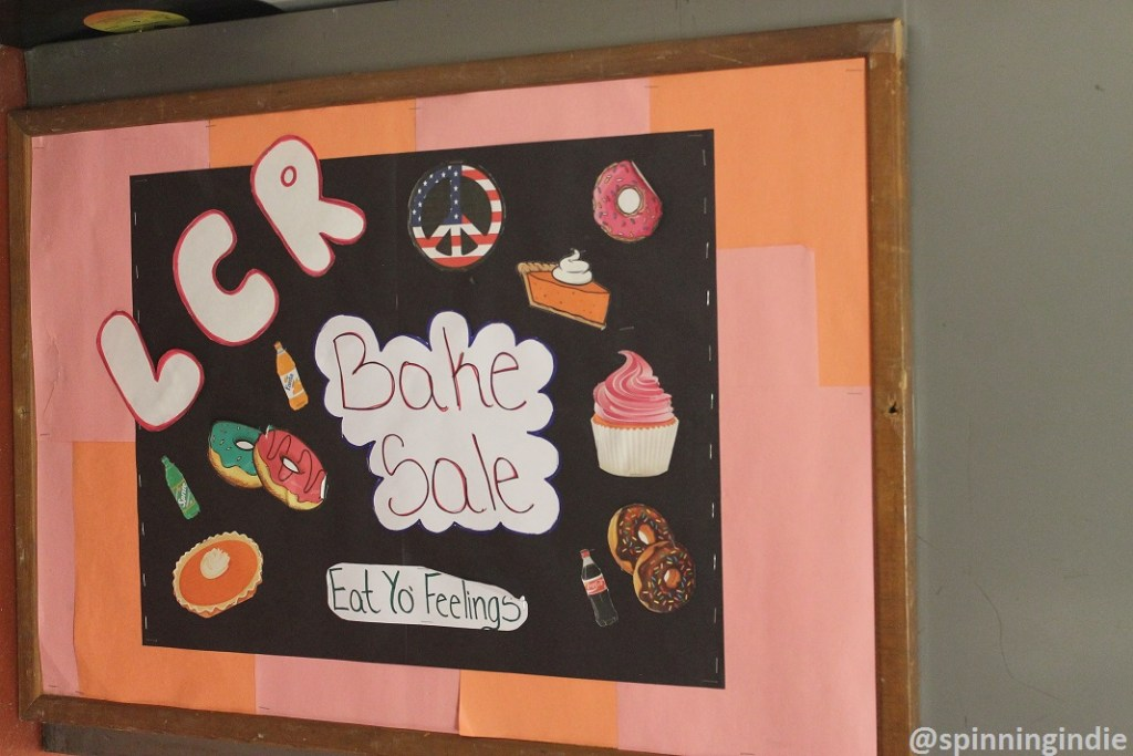 Sign for Lehman College Radio bake sale. Photo: J. Waits