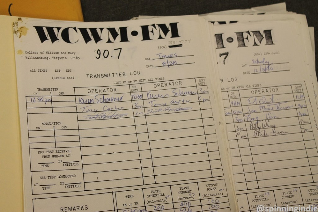 1980s transmitter logs at WCWM. Photo: J. Waits