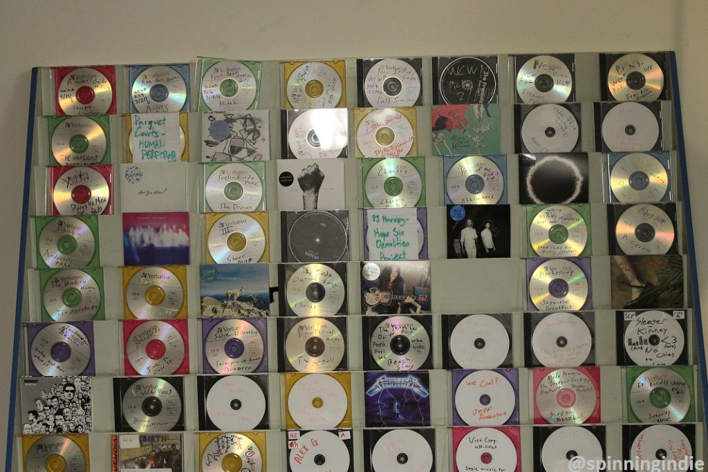 CDs containing new music in the WCWM studio. Photo: J. Waits