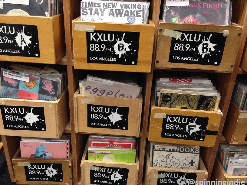 "7"" records at college radio station KXLU. Photo: J. Waits"