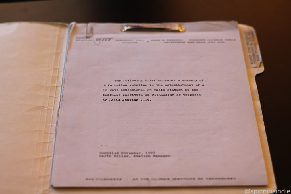 Historic paperwork related to the establishment of FM radio at IIT. Photo: J. Waits