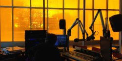 Studio at college radio station WIIT. Photo: J. Waits