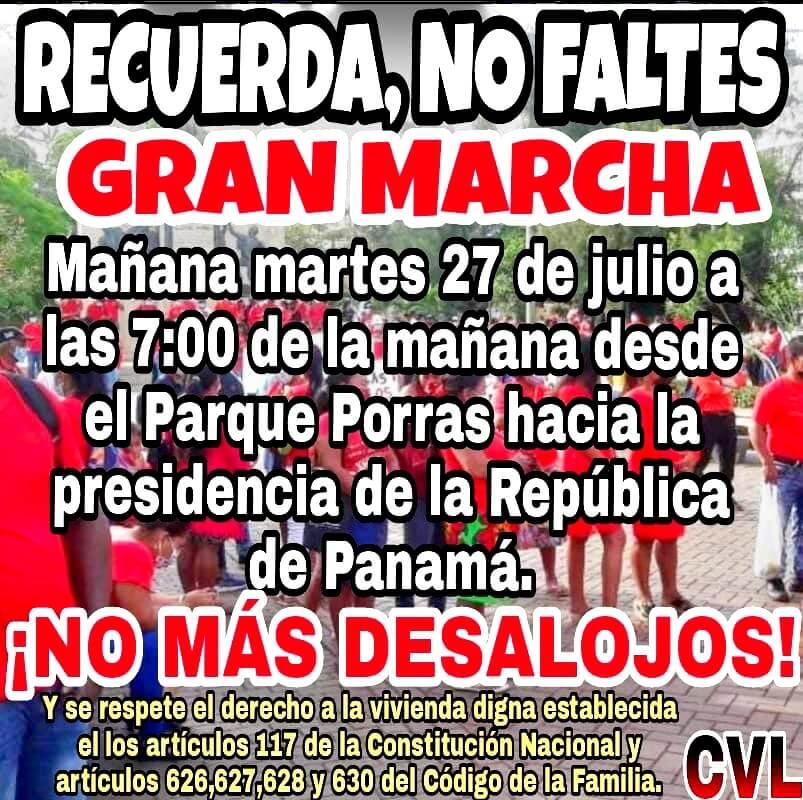 Panamá. Gran marcha contra los desalojo forzoso
