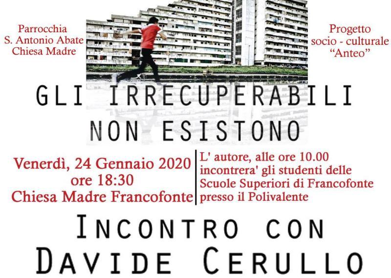 """Francofonte. """"Gli irrecuperabili non esistono"""", il 24 gennaio incontro con Davide Cerullo"""