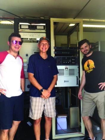 Sun Radio Music Director Ben Bethea, Director Affiliate Relations Ryan Schuh and Engineer/Operations Manager Denver O'Neal with the Nautel J1000.