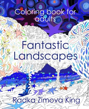 Adult coloring book Fantastic landscapes purchase on Amazon