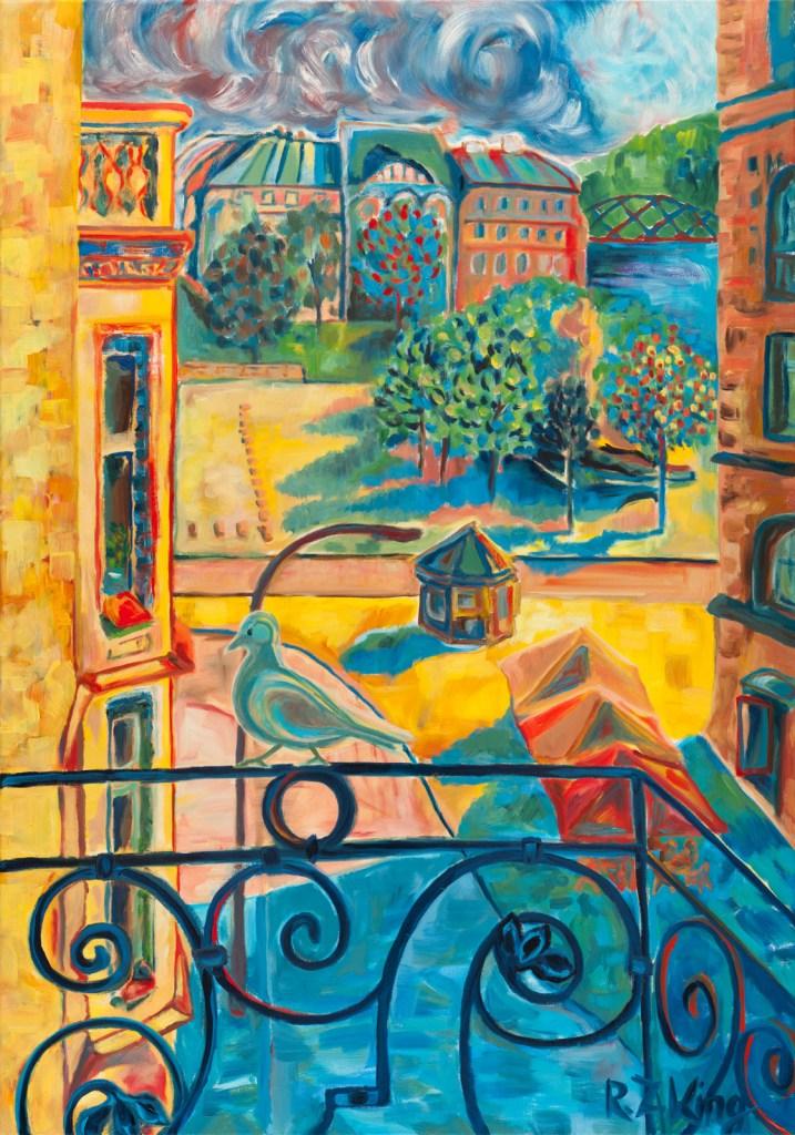 Summer storm Prague painting Oil on canvas Contemporary art