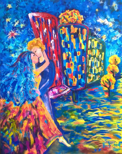 Contemporary Acrylic Painting Kiss Prague Dancing House by Radka Zimova King