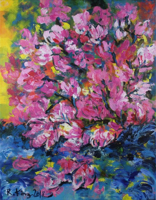 Contemporary painting acrylic on canvas Magnolia Tree by Radak Zimova King
