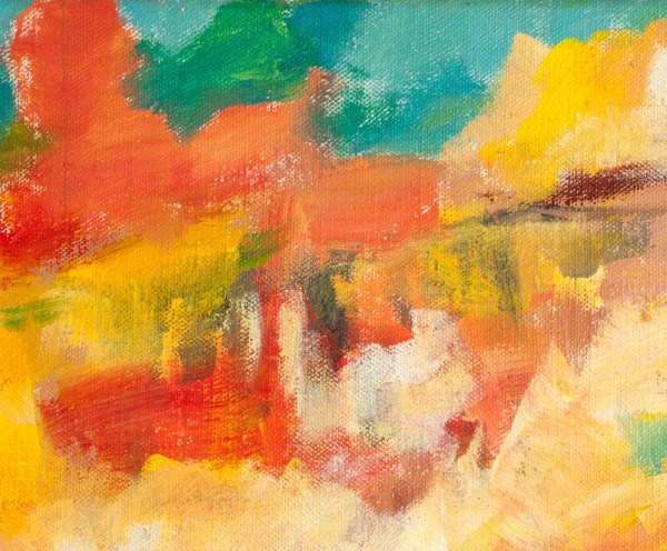 Acrylic Abstract Painting Detail red and yellow brush strokes