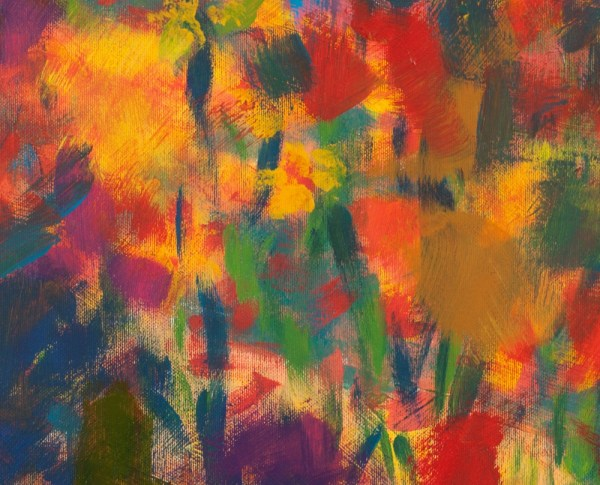 Acrylic Abstract Painting Detail yellow brush strokes