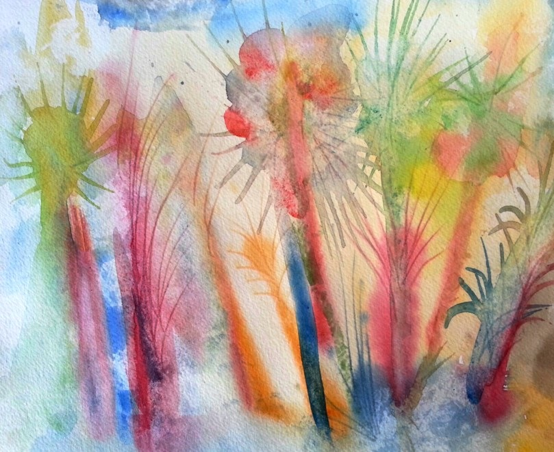 Contemporary Watercolor Jungle Abstract Landscape series