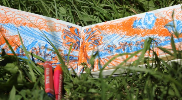 Summer sketching landscape with crayons