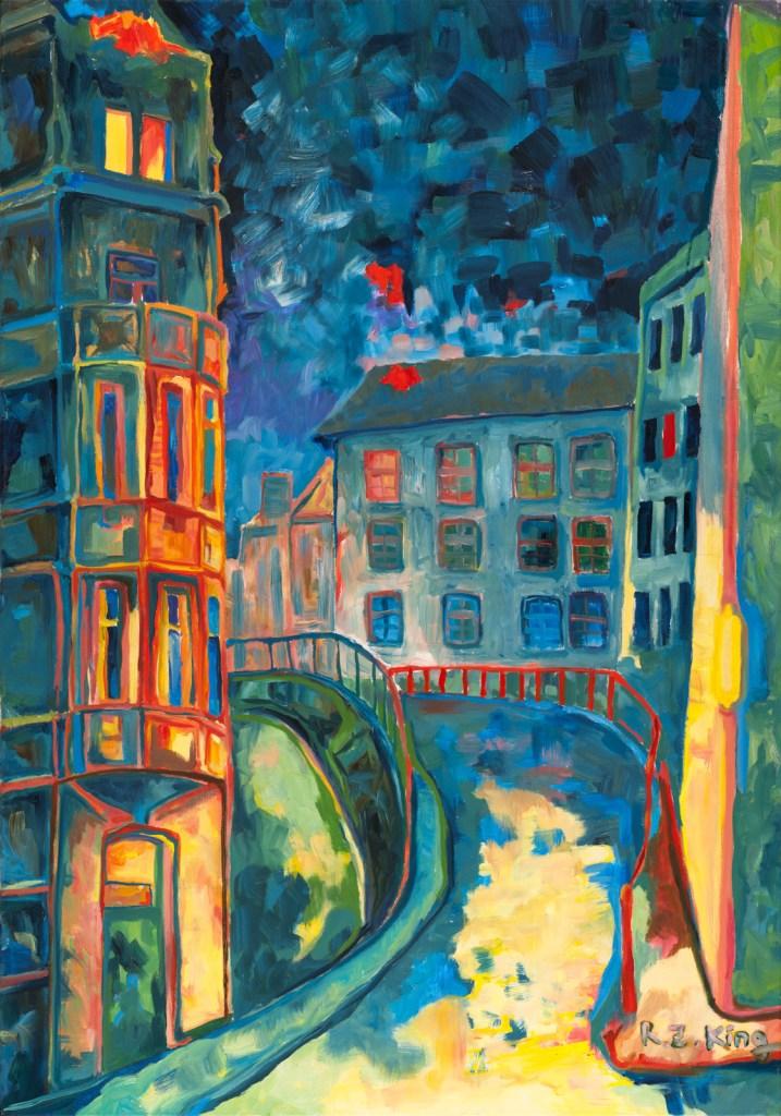 Prague at night Night walk Oil on canvas