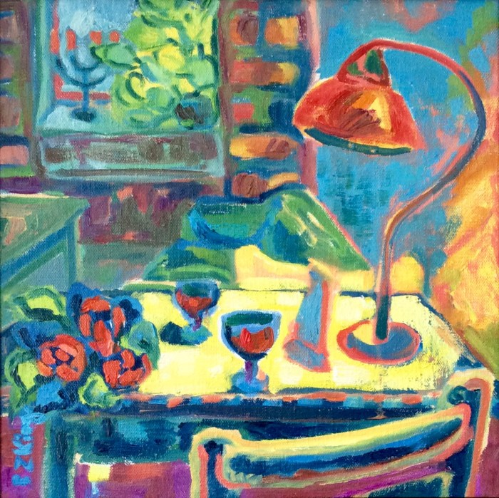 Contemporary oil on canvas Prague bar interior
