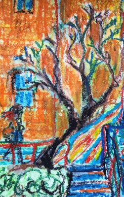 Watercolor Crayon Color sketching detail tree