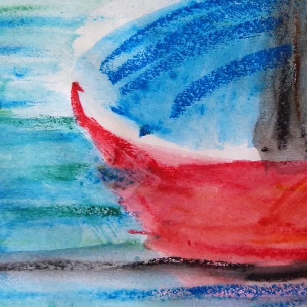 Watercolor Crayon Color sketching boat detail