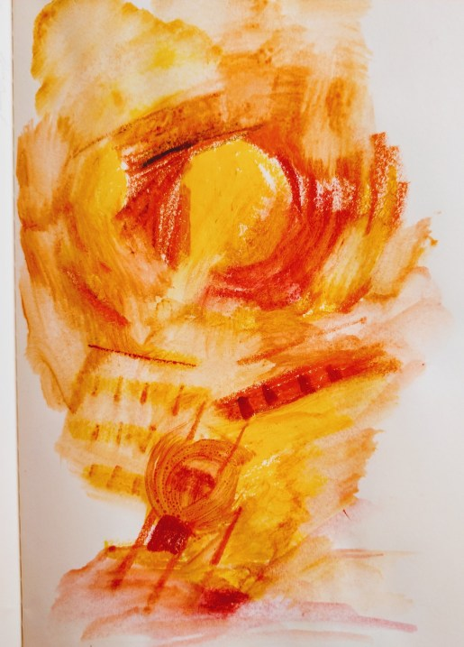 Watercolor Crayon Color sketching Abstract yellow and red