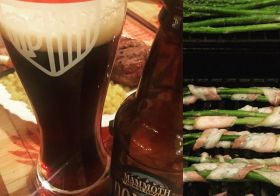 Delayed celebration of races yesterday! Starring: my last bottle of @mammothbrewing #DoubleNutBrown in #bloodsweatandbeers glass & asparagus wrapped in #bacon #supper [instagram]