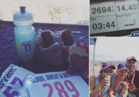 The heat was crazy, but I enjoyed the new course! Hydrating some more for the 5K in a few hours. #trailrunning #beyondvegas #nuunlove [instagram]