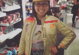 I'm five years old. Tried on this Poe/Finn jacket (for kids) at the Disney Store. Ended up getting the BB-8 hat🤓 #starwars #bb8 [instagram]