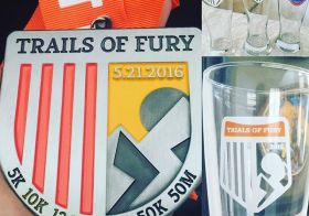 Gotta share my recent bling for #medalmonday #trailsoffury 10K then 13.1mi last Saturday. Slowly building up my beer glass collection 😎 #desertdash #dirtydouble [instagram]